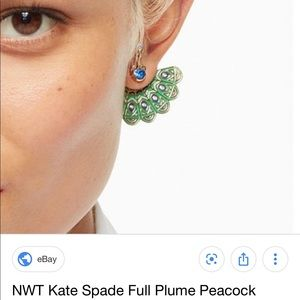 Kate Spade full plume peacock earrings